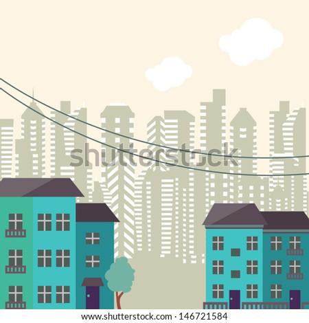 Retro city background - stock vector