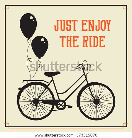 Retro city bicycle with balloons - stock vector