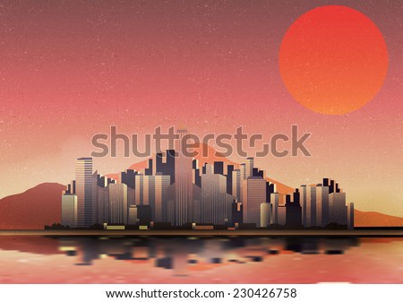 Retro City in a Desert with Reflection Background - Vector Illustration - stock vector