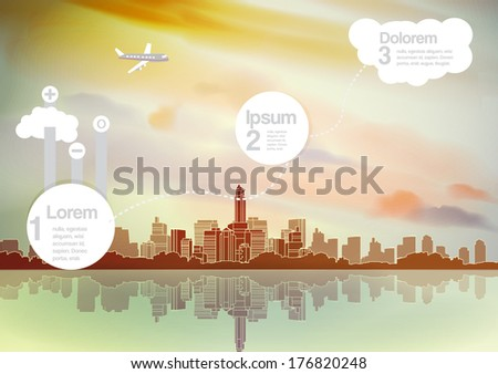 Retro City Skyline Background with Infographic - Vector Illustration - stock vector