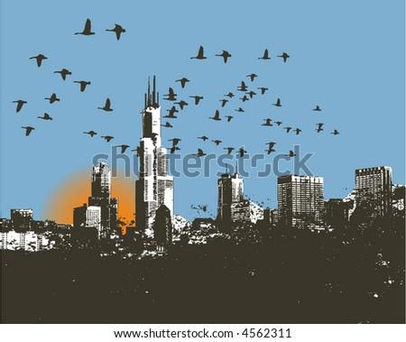 Retro Cityscape skyline Vector background - stock vector