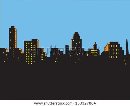 Retro Classic Comics Style City Skyline - stock vector