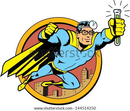 Retro Classic Superhero Doctor Medic Flying Over the City with Glasses and Vial of Cure Serum Antidote - stock vector