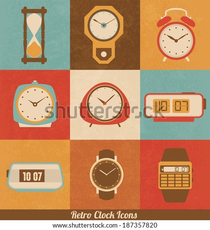 Retro Clock Icon Set - stock vector