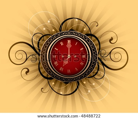 Retro clock with decorative elements on a striped background - stock vector