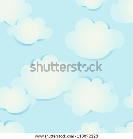 retro clouds seamless pattern - stock vector