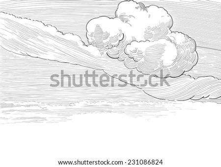 Retro cloudscape. Vector background of cloudy sky  at engraved style  - stock vector