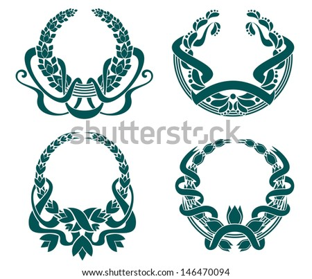 Retro coats of arms set for retro design or idea of logo. Jpeg version also available in gallery - stock vector