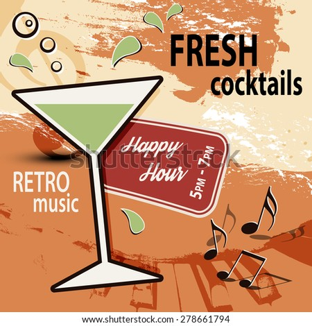 Retro cocktail bar poster ad - Happy Hour - stock vector