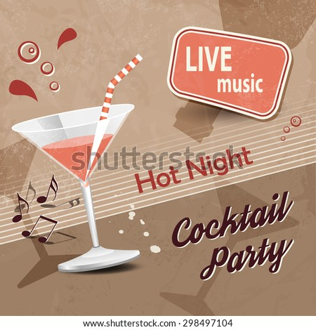 Retro cocktail party poster with brown background - stock vector