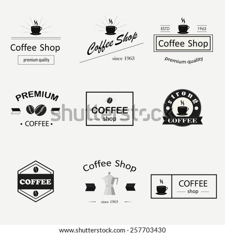 Retro coffee logotypes set. Vector design elements.Vintage badges and labels set. - stock vector