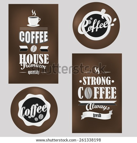 Retro coffee logotypes set. Vector design elements.Vintage badges and labels set.