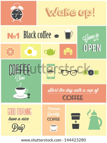 Retro coffee poster - stock vector