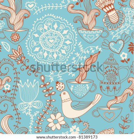 Retro coffee seamless pattern, tea background