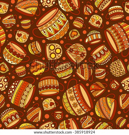 Retro coffee seamless pattern, tea background, texture with cups. Doodle style