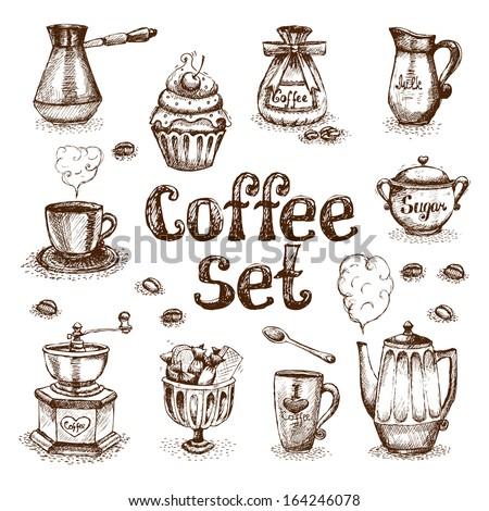 Retro coffee set vector illustration - stock vector