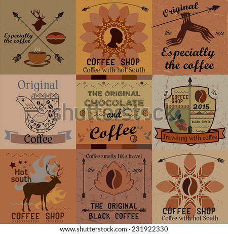 Retro collection of coffee labels, frames and badges. Vintage elements for coffee design. - stock vector