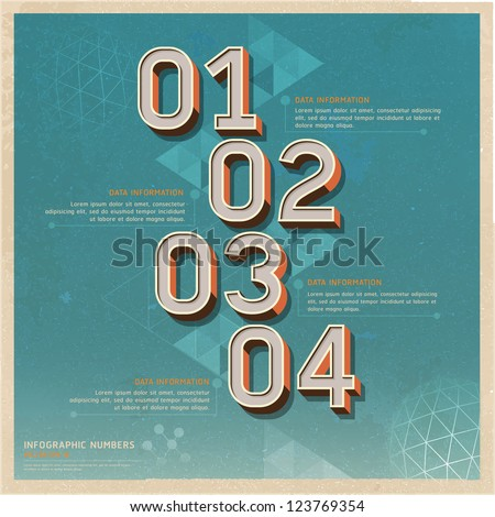 Retro color options number banner on old paper background. Vector illustration. can be used for workflow layout, diagram, web design, infographics. - stock vector