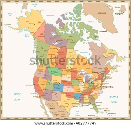 retro color political map of usa and canada