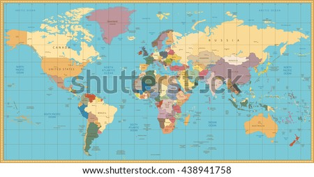 Retro color political World Map.All elements are separated in editable layers clearly labeled. - stock vector