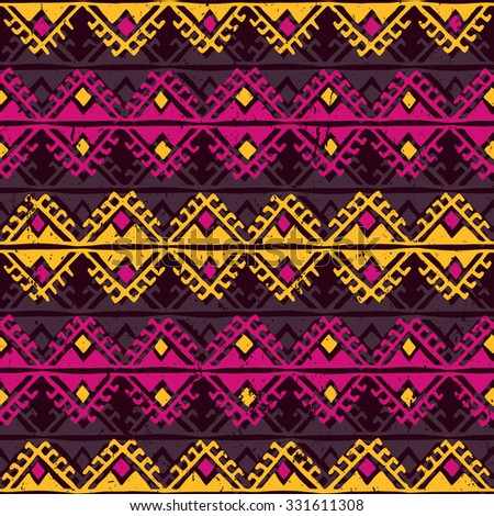 retro color tribal Navajo seamless pattern. aztec grunge abstract geometric art print. ethnic hipster backdrop.  Wallpaper, cloth design, fabric, paper, wrapping, postcards. hand drawn.   - stock vector