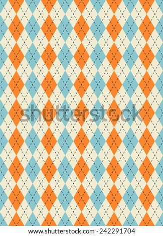 retro colored argyle pattern. each color in separate layer - easy to change. - stock vector