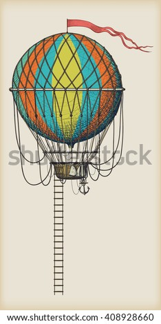 Retro colored hot air balloon with the flag and ladder on vintage beige background