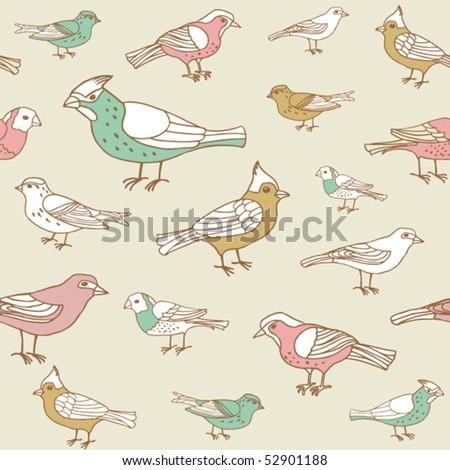 retro colorful birds pattern - stock vector