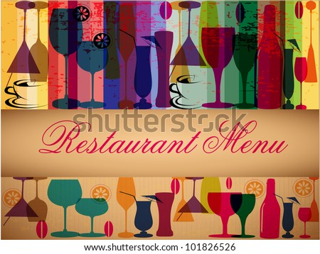 Retro colorful menu card design for party or other occasions. EPS 10. Vector illustration.