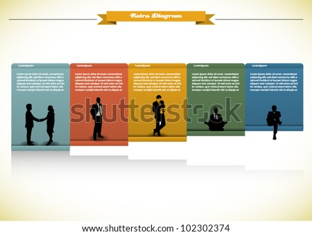 Retro Colorful presentations with five text box - stock vector