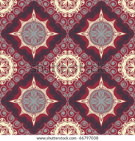 Retro colorful seamless wallpaper, background or textile - stock vector