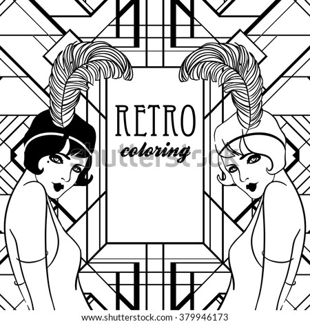 Flapper stock images royalty free images vectors for Retro coloring pages