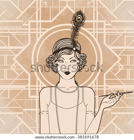 Retro coloring book for kids and adults: retro women of twenties. Vector illustration. Flapper girl 20's style. Retro party invitation design template. Black outlines isolated on white. - stock vector