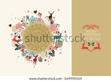 Retro colors Christmas postal card frame. EPS10 vector file organized in layers for easy editing. - stock vector