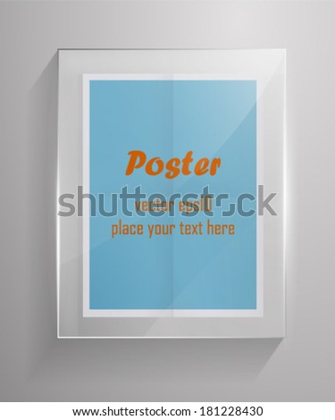 Retro colors poster in glass frame. Vecto eps10. - stock vector