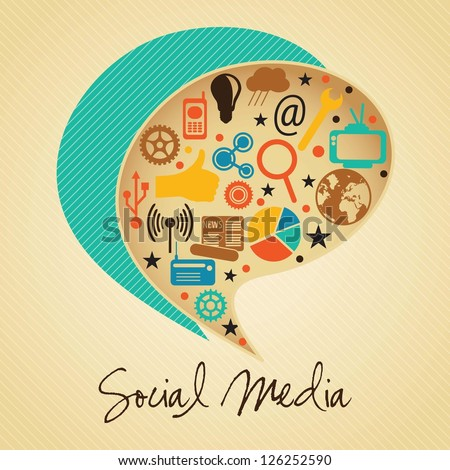 Retro colors Social Media concept with text bubble (icons set), on vintage  background. - stock vector