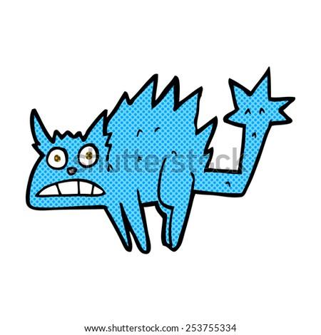retro comic book style cartoon frightened cat - stock vector