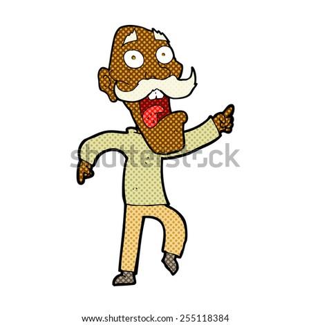 retro comic book style cartoon frightened old man - stock vector
