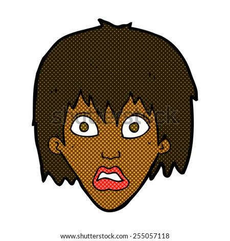 retro comic book style cartoon frightened woman - stock vector