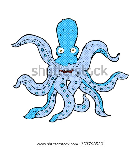retro comic book style cartoon giant octopus - stock vector