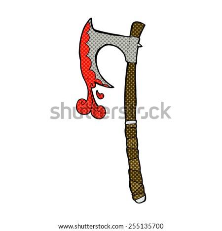 retro comic book style cartoon viking axe - stock vector