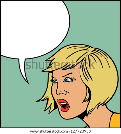 Retro comic screaming angry blonde girl with speech balloon - stock vector