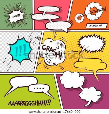 Retro Comic Speech Bubbles - vector illustration. - stock vector