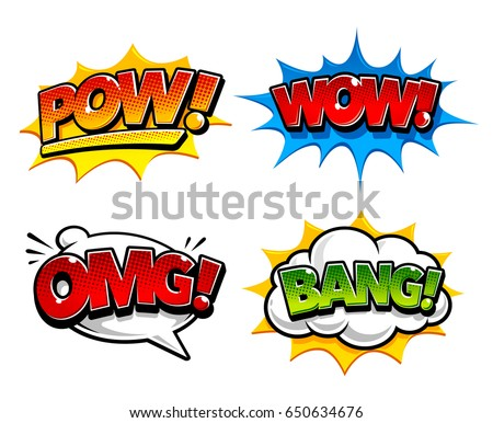 Retro comic speech bubbles with sound effects pow bang and expression tags