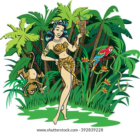 Retro comic style illustration of a Tiki pinup goddess holding a cocktail standing in the jungle - stock vector