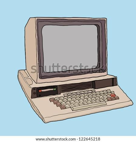 retro computer - stock vector