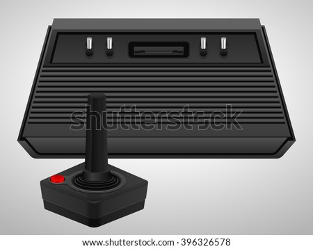 Retro console and joystick on a white background.