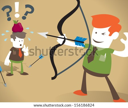 Retro Corporate Guy HAS to hit the target. Fantastic illustration of Retro Corporate Guy who is pushing his luck by risking the life of his unsuspecting colleague.  - stock vector