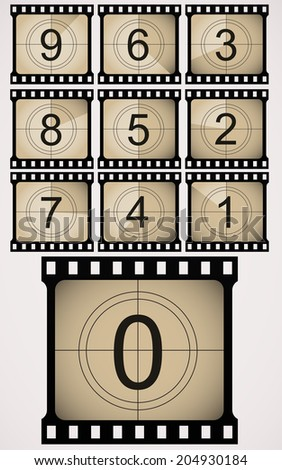 Retro countdown numbers. - stock vector
