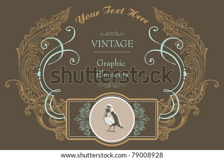 retro cover design- best card for wedding- classic style - stock vector